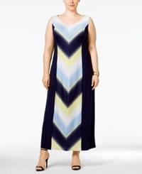 Ny Collection Plus Size Chevron Print Maxi Dress Ice Rink