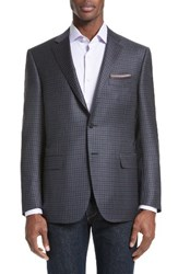 Canali Men's Big And Tall Classic Fit Check Wool Sport Coat Grey