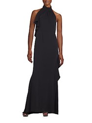 Carmen Marc Valvo Backless Ruffle Halter Gown Black