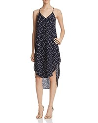 Aqua Dot Midi Slip Dress Navy Cream