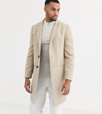 Burton Menswear Big And Tall Coat In Oatmeal Navy