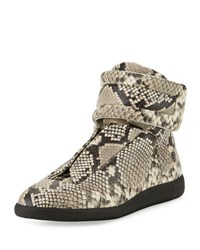 Maison Martin Margiela Future Men's Python Embossed Leather High Top Sneaker Natural Brown