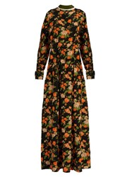 Msgm Floral Print Silk Maxi Dress Orange Multi