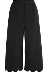 Red Valentino Redvalentino Cropped Scalloped Stretch Pique Wide Leg Pants Black