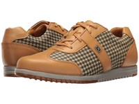 Footjoy Spikeless Casual Collection T Toe U Throat Tan Tan Houndstooth Women's Golf Shoes
