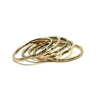 Sweet1985 Gold Filled Hammered Stackable Ring Set