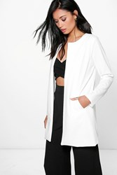 Boohoo Holly Collarless Lined Duster Cream