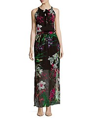 Elie Tahari Trans Cayla Island Floral Silk Dress Black Multi