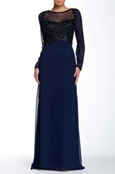 Sue Wong Beaded Illusion Long Dress Blue