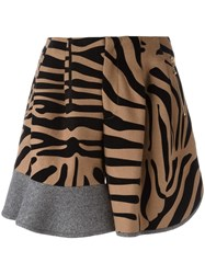 Kolor Animal Print Ruffled Panel Shorts Brown