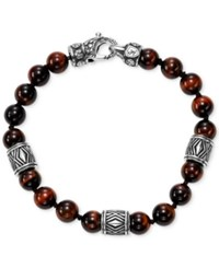 Scott Kay Red Tiger's Eye Bead Bracelet With Sterling Silver Accents Brown