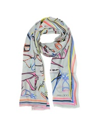 Jimmy Choo Light Gray And Multicolor Mix Shoes Printed Silk Twill Long Scarf
