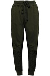 Haider Ackermann Paneled French Cotton Terry And Twill Track Pants Army Green