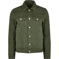 River Island Mens Big And Tall Dark Green Denim Jacket