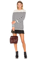 Red Valentino Striped Sweater Dress Ivory