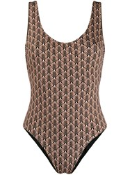 Fisico Classic Printed One Piece Swim Suit Neutrals