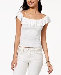 Almost Famous Juniors' Ruffle Smocked Crop Top White