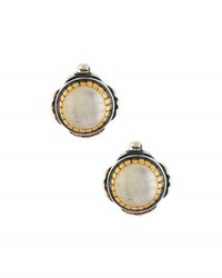 Konstantino Erato Round Labradorite Doublet Stud Earrings White