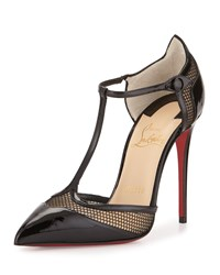 Christian Louboutin Mrs. Early T Strap Red Sole Pump Black Women's Size 41.5B 11.5B