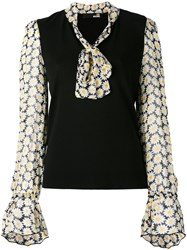 Love Moschino Floral Print Contrast Top Black