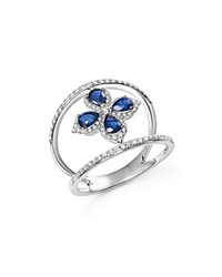 Bloomingdale's Sapphire And Diamond Flower Ring In 14K White Gold 100 Exclusive Blue White