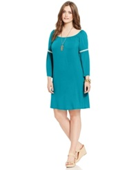 Love Squared Plus Size Bell Sleeve Peasant Shift Dress Bright Teal