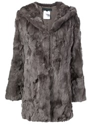 Jocelyn Hooded Rabbit Fur Coat Grey