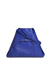 Akris Ai Medium Soft Blueprint Leather Shoulder Bag Bright Blue