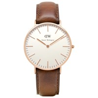 Daniel Wellington Women's Classic Rose Gold Plated Leather Strap Watch Brown Cream