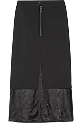 Maison Martin Margiela Layered Wool Blend And Satin Midi Skirt