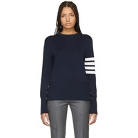 Thom Browne Navy Silk 4 Bar Sweater