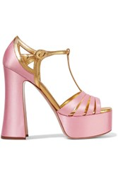 Miu Miu Metallic Leather Trimmed Satin Platform Sandals Pastel Pink