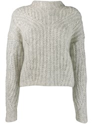 Isabel Marant Long Sleeve Fitted Sweater Grey