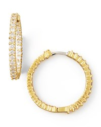 25Mm Yellow Gold Diamond Hoop Earrings 1.53Ct Roberto Coin Red