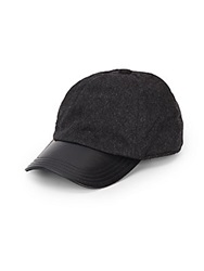 Saks Fifth Avenue Cashmere And Leather Baseball Cap Grey
