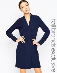 Y.A.S Tall Long Sleeve Button Through Dress Navy