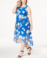 Alfani Plus Size Printed High Low Midi Dress Created For Macy's Blue Jump Brush Floral