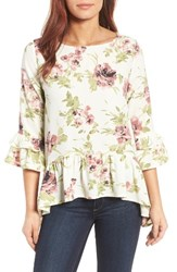 Gibson Petite Women's Peplum Top Ivory Floral Print