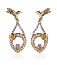 Theo Fennell Pink Sapphire Hummingbird Tryst Earrings