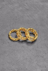 Noir Jewelry Woman Set Of Three Gold Plated Crystal Rings Gold
