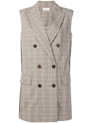 Sonia Rykiel Checked Double Breasted Vest Neutrals