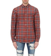 Amiri Checked Regular Fit Cotton And Silk Blend Shirt Red