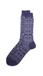 Anonymous Ism Paisley Crew Socks Navy