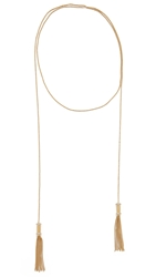 Rachel Zoe Nicola Micro Tassel Necklace Gold Clear