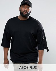 Asos Plus Oversized T Shirt With Half Sleeve And Twill Shoulder Pocket Black