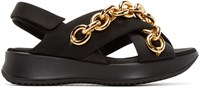 Burberry Black And Gold Chain Actonshire Sandals