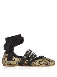 Miu Miu Brocade And Patent Leather Ballerina Flats Black Multi