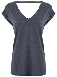 Miss Selfridge Open Back T Shirt Dark Grey