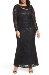 Marina Plus Size Women's Sequin Lace Keyhole Gown