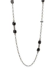 Bavna Black Spinel Sapphire And Sterling Silver Strand Necklace